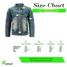 Men's Moto Quilted Cotton Blend Faded Denim Button Up Jean Jacket Slim Fit image 2