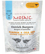 Mosaic Ostrich Burgers Exotic Treats for Dogs  Pumpkin and Chia 4oz - $23.61