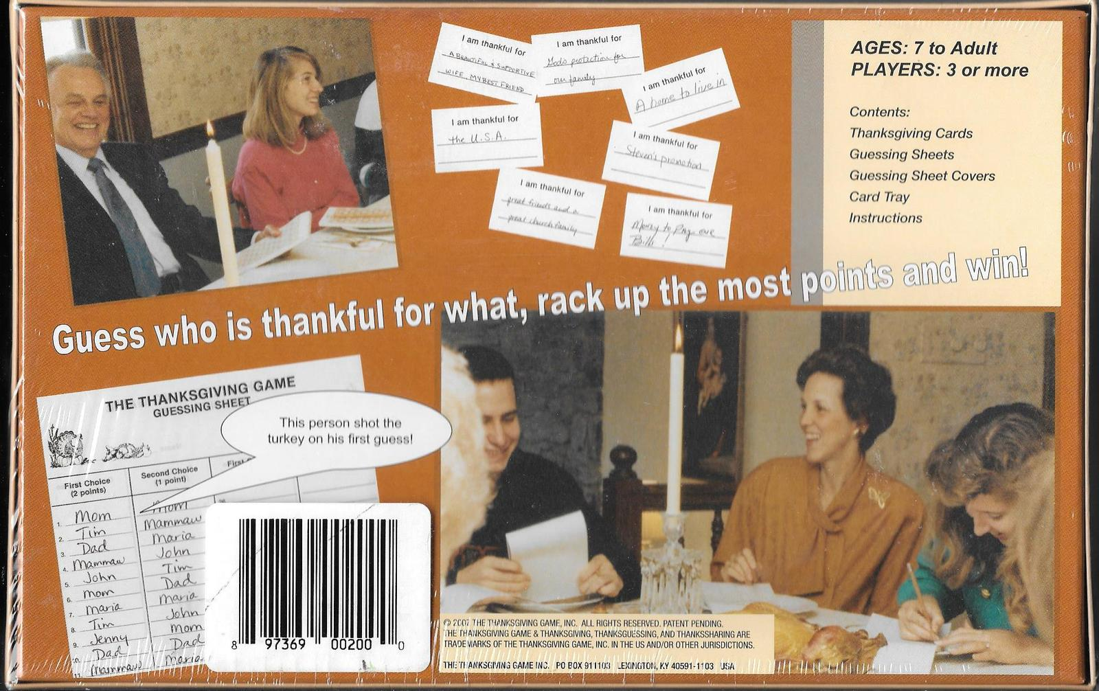Thanksgiving guessing Game 2007 cards family party entertainment child adult  H7
