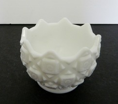 Old Quilt Pattern Westmoreland White Milk Glass Round Footed Candy Dish ... - $16.71