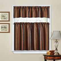 Waverly Stripe Ensemble Curtain Tiers Valance Set Kitchen Red Gold Brown... - $28.70
