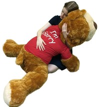 Say I'm Sorry with Giant Stuffed Puppy Dog 5 Feet Long Honey Brown Soft Wears T  - $127.11