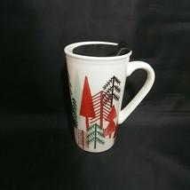 Starbucks Travel Mug Coffee Tea With Lid Unused Christmas Pine Trees 14.... - $26.07