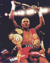 Felix Trinidad 8X10 Photo Boxing Picture 3 Belts In Victory - $3.95