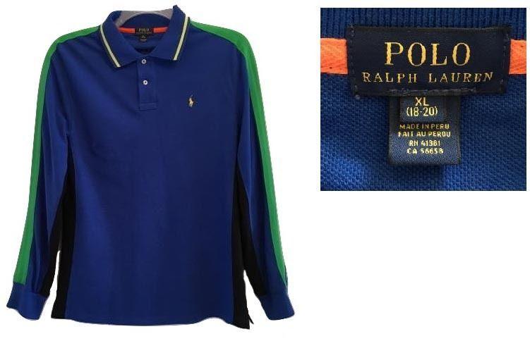 6e74c280a6b7a Ralph Lauren Blue Color Blocked Long Sleeve Polo XL 18-20 -  32.00
