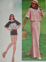 Vintage Simplicity Pattern 6831 PULLOVER TOP & HIP HUGGER PANTS/SHORTS 1... - $9.49