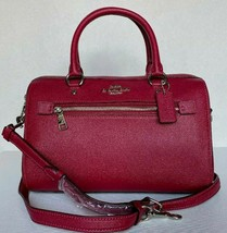 New Coach 79946 Rowan Satchel Crossgrain Leather handbag Dark Fuchsia - $129.00