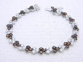 Vintage .925 Sterling Silver Clear CZ Garnet Rhinestone Tennis Bracelet - $74.25
