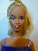 1990's Mattel Twist N' Turn Blond Barbie Doll printed purple dress wiggl... - $8.42