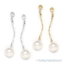 8mm Freshwater Cultured Pearl Dangling Drop Earrings in 14k Yellow or Wh... - $55.16+