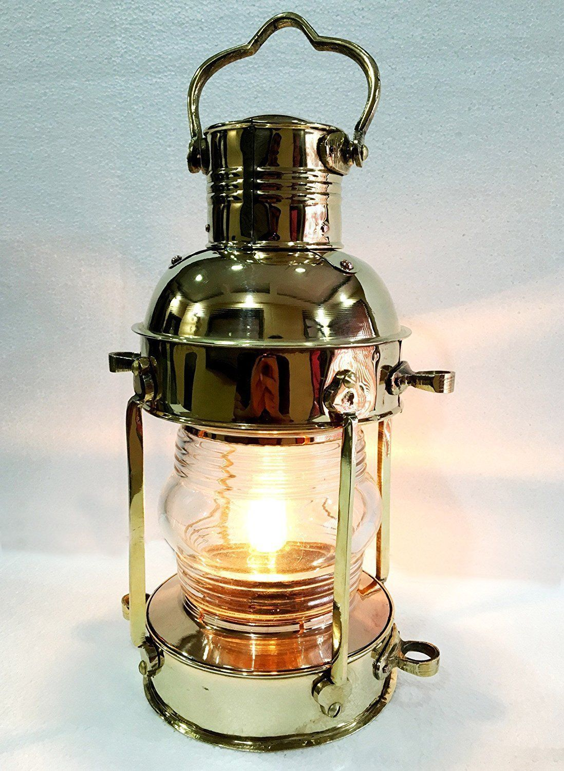 "Primary image for 15"" Gold Brass Vintage Style Nautical Ship Electric Lantern Maritime Home Decor"