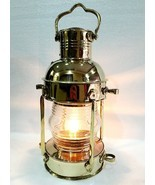 "15"" Gold Brass Vintage Style Nautical Ship Electric Lantern Maritime Hom... - €83,20 EUR"