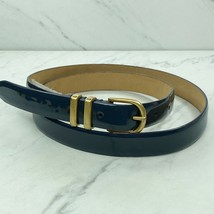 J. Crew Blue Gray Patent Leather Belt Size Medium Womens - $17.06