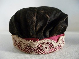 Civil War Era Antique CHINA DOLL Snood Cap Hat Lace Made by Child - $27.72