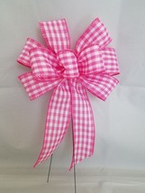 """Small 5-6"""" Hand Made Pink White Check Bow -  Indoor Outdoor Wreath Sprin... - $3.36"""