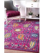 Rug Collection Contemporary Paisley Design Area Rug 9x12 Purple Pink Fuc... - $675.53