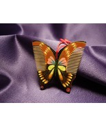 Vintage Chinese Wooden Comb Hand Painted Butterfly Design - $17.82