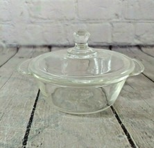 Vintage Fire King 8 oz. Clear Glass Round Baking Dish includes Lid - $19.79