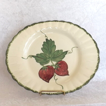 Platter with Ruffled Edges and Strawberry on Vine Design No Mark Unbranded - $19.49