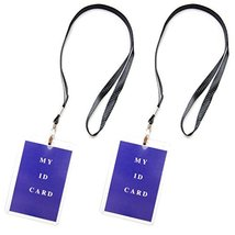 "18"" ID Badge Plastic Hard Clear Case Lanyard Holder, Polyester (Pack of 2) - $7.99"