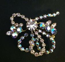 Vintage Pin Broach - Multi Color Glass Rhinestone Type Stones - Bow Shape - $14.00
