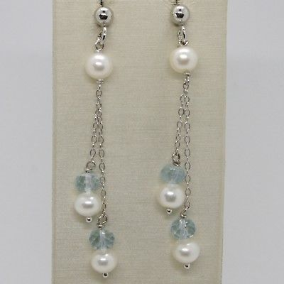 925 STERLING SILVER DOUBLE PENDANT EARRINGS WITH FACETED AQUAMARINE AND PEARLS