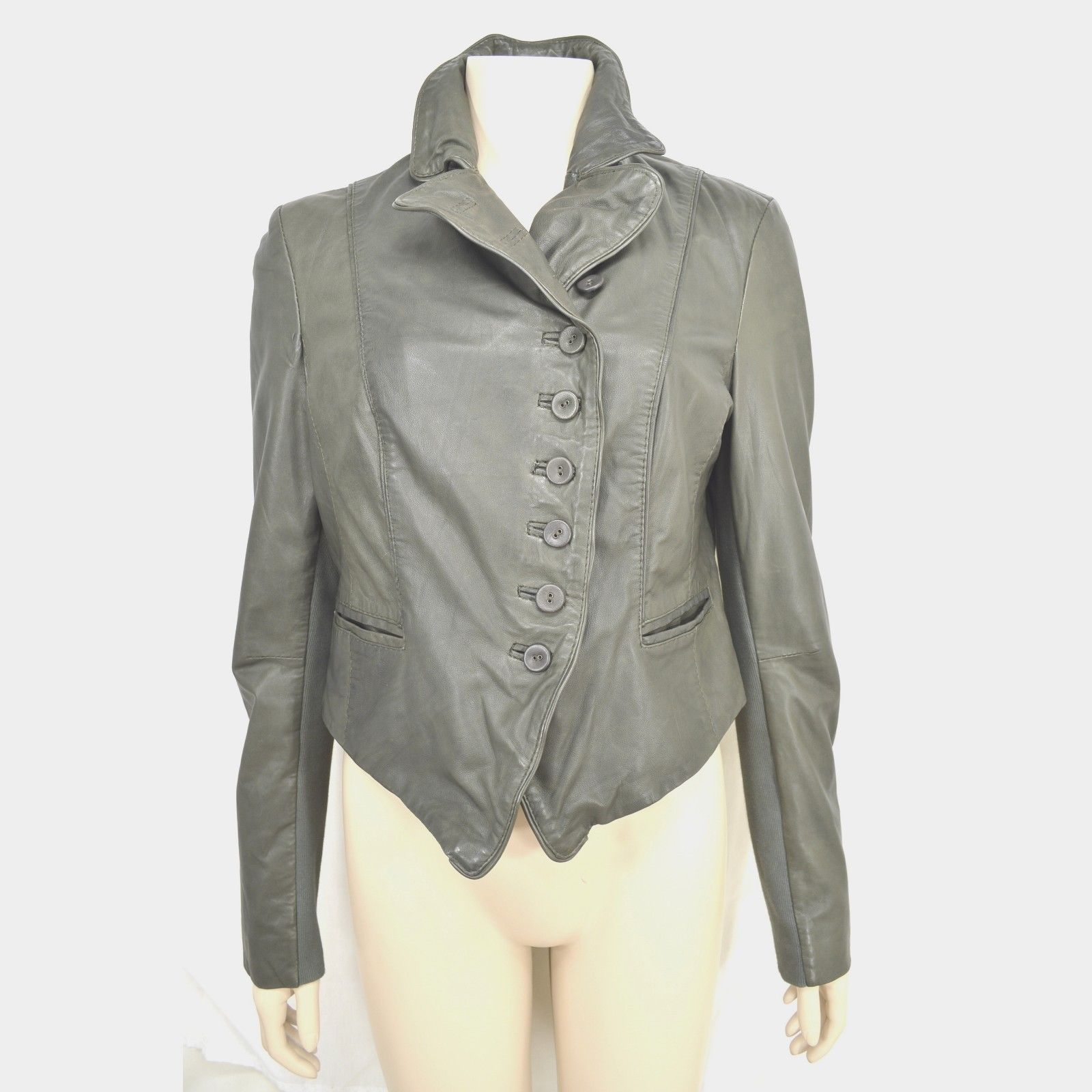 MUUBAA lambskin soft leather jacket SZ 8 Moss Army Gray asymmetric buttoned image 3