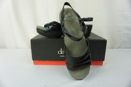 Dansko Serafina Womens 39 8.5 - 9 Black Patent Crinkle Leather Sandals S... - $39.55