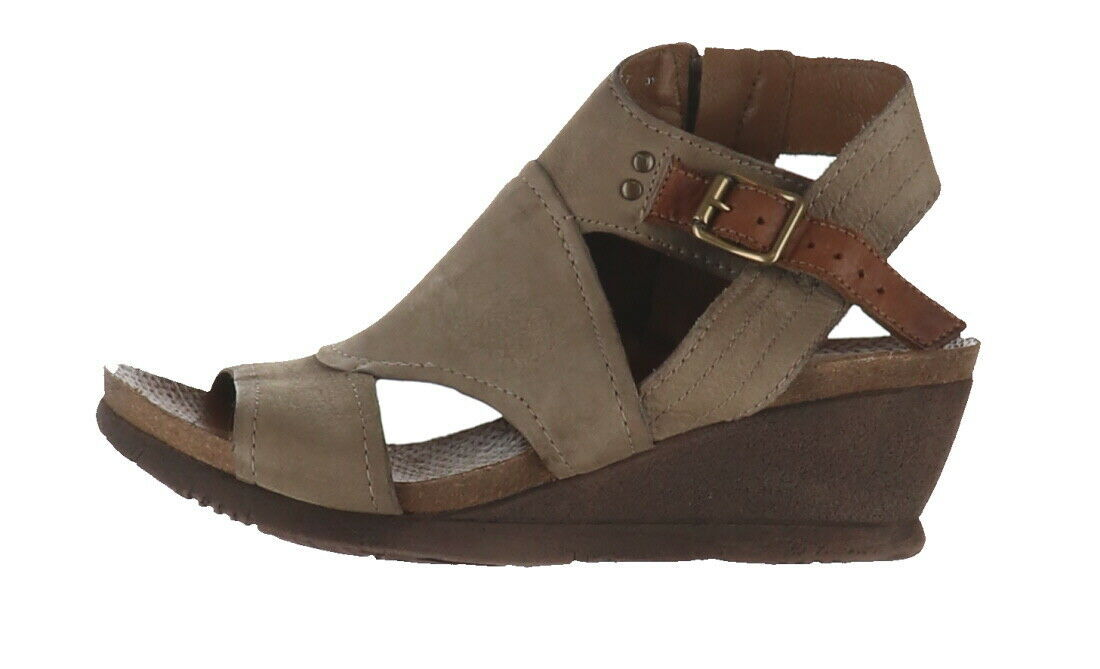 Primary image for Miz Mooz Leather Side Zip Wedge Sandals Scout Stone EU37(US6.5-7) NEW A290410