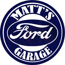 """Personalized Vintage Ford Garage 12"""" Round Aluminum Sign with Matching K... - $19.75"""