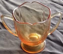 Beautiful Amber Pressed Glass Open Sugar Bowl - VGC - GORGEOUS DESIGN - ... - $19.79