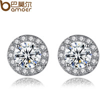 BAMOER Simple Silver Color Round Shape Stud Earrings with AAA Zircon for... - $8.17
