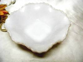 1101 Antique Anchor Hocking Scalloped Milk Glass Candy Bowl - $8.00
