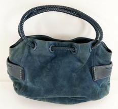 Vintage Cole Haan Blue Suede Drawstring Shoulder Bag - $24.74