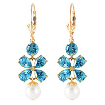 6.28 Carat 14K Solid Gold Chandelier Earrings Blue Topaz pearl Natural Gemstone - $454.56