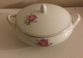 Fine China Japan IMPERIAL ROSE Round Covered Vegetable Serving Bowl w/ L... - $22.24