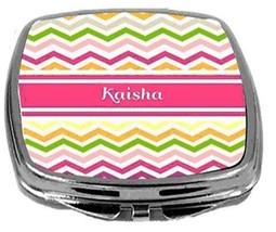Rikki Knight Personalized Name Kaisha Compact Mirror Pink Chevron Stripe... - $12.00