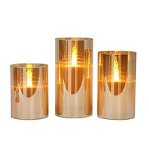 Gold Glass Battery Operated Flameless Led Candles with Timer, Warm White... - $29.96
