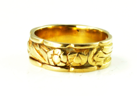 Antique 14k Gold Tiffany & Co Floral Eternity Flower Band 7mm Size 8 - $1,484.99