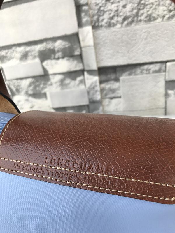Longchamp Le Pliage Small Short Handel Nylon Handbag Light Blue 1621089A30