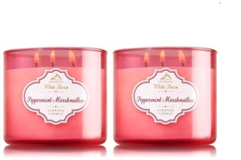 2 White Barn Peppermint Marshmallow Scented 3 Wick Candle 14.5 oz - $49.99