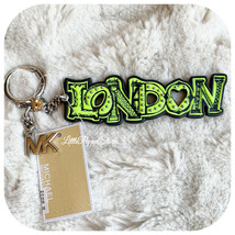 NWT MICHAEL KORS GRAFFITI LONDON COLLECTION KEY FOB IN NEAON LIME - $18.69