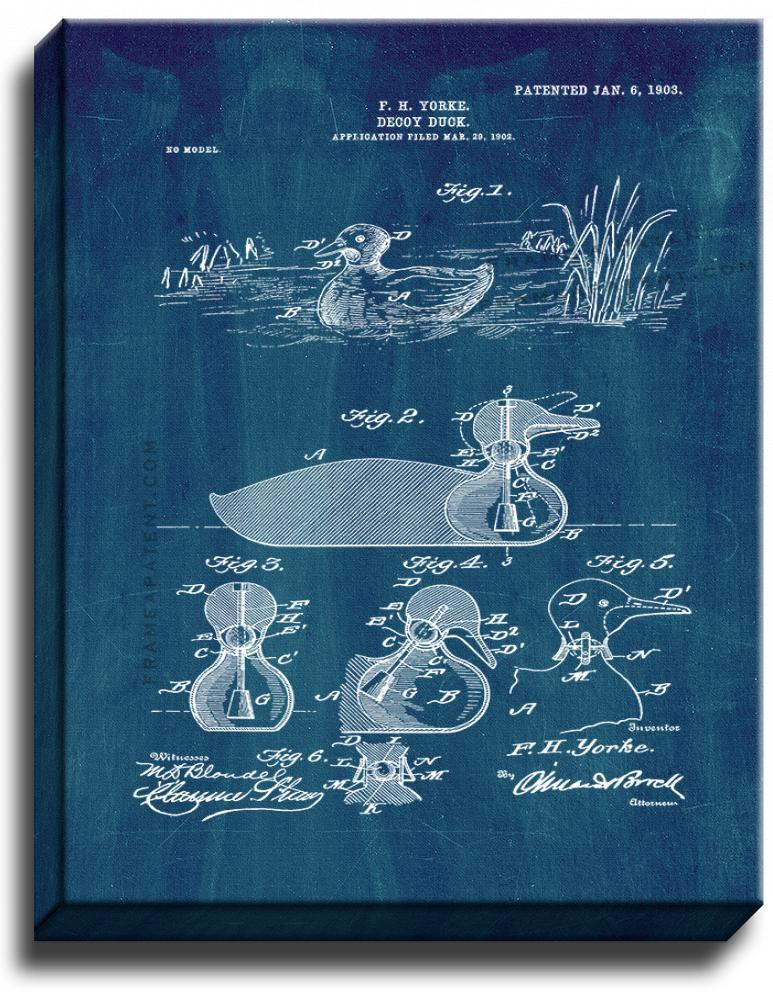 Primary image for Decoy Duck Patent Print Midnight Blue on Canvas