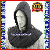 Medieval Renaissance Armor Padded Arming Cap Collar Head Neck Cotton Black  - $46.99