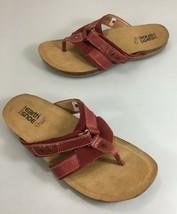 Earth Kalso Womens 9.5B Presto Bordeaux Red Leather Flip-Flops Sandals - $45.08
