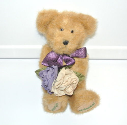 "Boyds Bears Flora Thanksabunch 903026 Purple Ribbon & Flowers 8"" Plush Stuffed A"