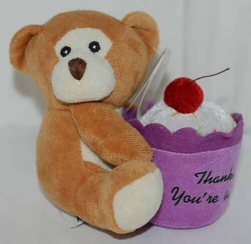 Beverly Hills Brand Playfully Elegant Brown Tan Color Thanks Cupcake Bear