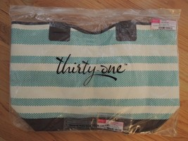 Tote Bag Striped Travel / Beach / Shopping Bag + Key Fob $75 Value ( Retired ) - $54.99