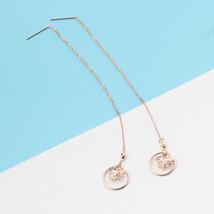 Ear Thread Series 18k Rose Gold Mesh Chain Hollow Star Dangle Earrings image 4