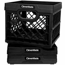 Milk Crate Box Heavy Duty Plastic Container Holder 3pcs Storage Stackable - £39.50 GBP